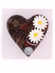 coeur dentelle en chocolat noir: garni de petits coeurs pralinés